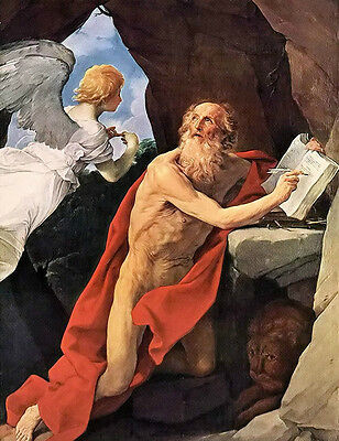 Stunning Oil painting Guido Reni - Old man st jerome with angel lion in scene