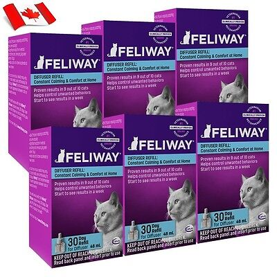 6 x 48ml Ceva Feliway Diffuser Refill Shipped within Canada