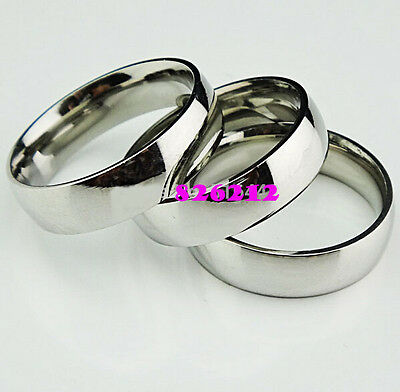 10pcs Comfort Fit 6mm Band Stainless Steel Wedding Ring Men Women Jewelry Lots