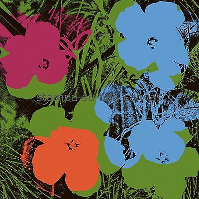 Andy Warhol  Flowers  90 X 90 cm  STAMPA TELA CANVAS PRINT TOILE LIENZO POP ART
