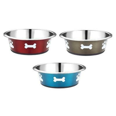 Classic Non Slip Stainless Steel Posh Paws Dog Puppy Food Water Bowl Dish