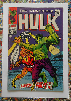 INCREDIBLE HULK #103 - MAY 1968 - 1st SPACE PARASITE! - VG+ (4.5) CENTS COPY!
