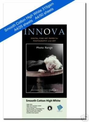 Innova Smooth Cotton High White Matte Inkjet 315gsm A4/50