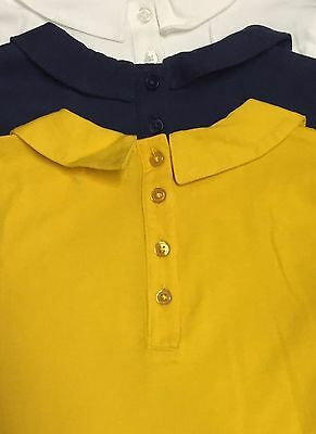 New Ex M&S Girls 3 Pack Collared Long Sleeve Tops Age 12 -24m 1 2 3 4 5 6 7 Year