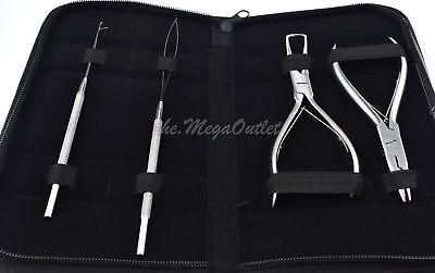 Micro Ring Removing Pliers Set For Hair Extensions With Loop & Pulling Needles