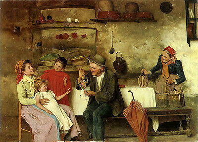 Oil painting Alessandro Sani - the puppet show The elderly and children canvas