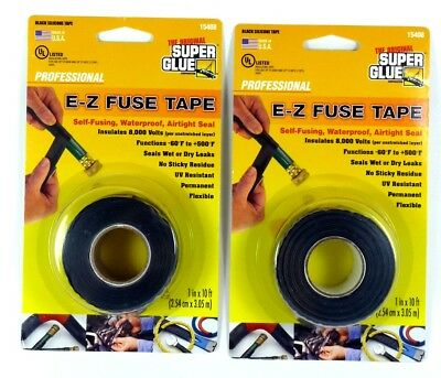 Lot of (2) SUPER GLUE 15408 E-Z Fuse Tape, 10 ft,permanent,waterproof,air tight