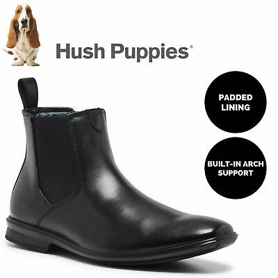 Men's HUSH PUPPIES CHELSEA Leather Boots Shoes Slip On Extra Wide Work Comfort
