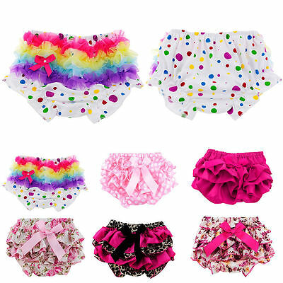 1Pcs Baby Girls Toddler Ruffle Bloomers PP Pants Nappy Cover Shorts Pettiskirt