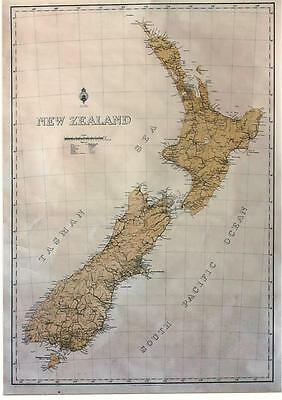 Original vintage poster NEW ZEALAND GEOGRAPHIC MAP c.1920