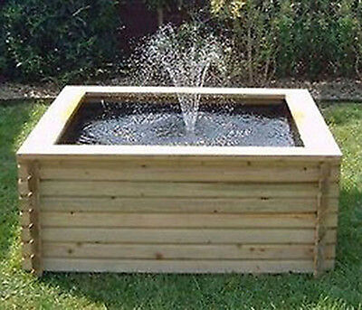 Square Raised Garden Pool 120 Gallon + Liner + Pump Fish Pond Tank Outdoor