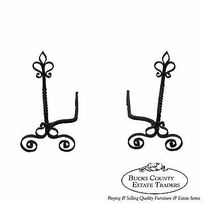 Quality Pair of French Style Twist Column Andirons