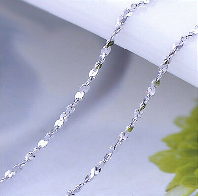 Pure Solid 925 Sterling Silver Starry Chain Necklace 16in 18in For Women Fashion