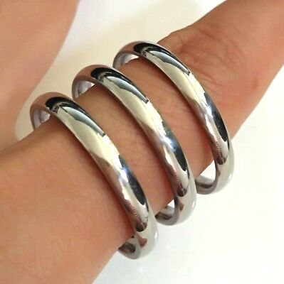 50pcs Silver Wedding 3MM Stainless Steel Band Rings Men Women Jewelry Job Lots