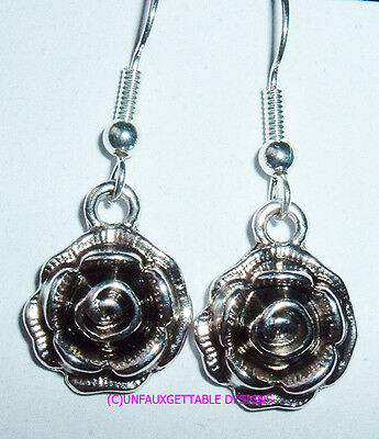 Tudor Rose Medieval Silver Flower  Earrings  Larp Ren Re-Enactor Costume