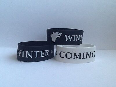 Wide Game of Thrones House of Stark Silicone Wristband - Winter is Coming