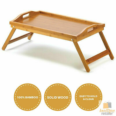 BAMBOO FOLD UP LAP SERVING TRAY Tea Coffee Table Wooden Breakfast in Bed Dinner