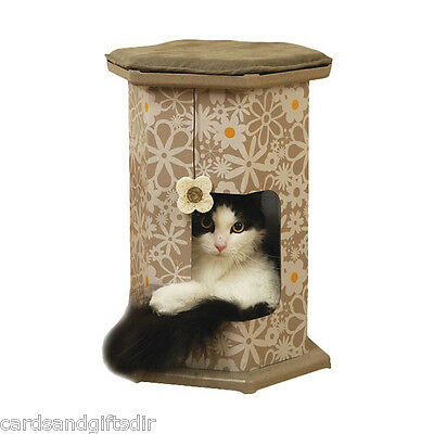 Rosewood Wolf & Tiger Cat Play Tower and Tunnel  Hide & Seek Flower Dangler