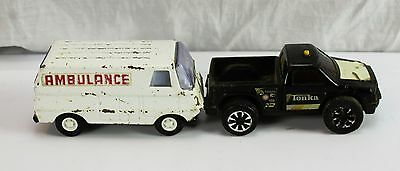 Lot of 2 Vintage Die Cast Metal And Plastic Tonka Toys Friction Truck Ambulance