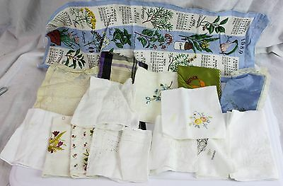 Lot of 14 Vintage Doilies Handkerchiefs Calendar Embroidered Lace Cross Stitch