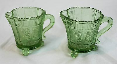 Lot of 2 Patterned Pressed Vintage Green Glass Milk Cream Pitchers Cups Footed