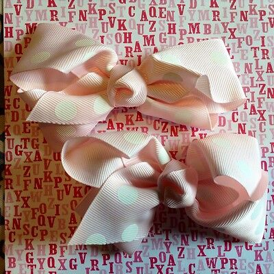 Lot of two 4 inch pink w/ white polka dot boutique style hair bows, hair clips.