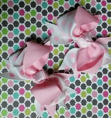 Lot of TWO 4 Inch Boutique Light Pink Bows with White Polka Dots Clips Baby Girl