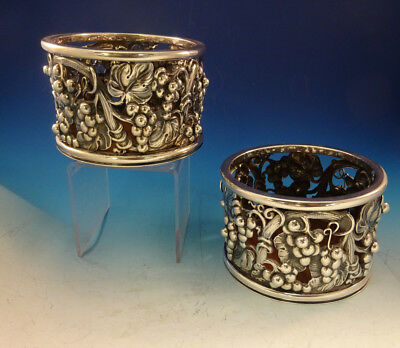 Evald Nielsen Danish Sterling Silver Wine Coasters Pair with Grape Motif (#0063)