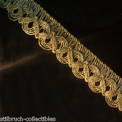 "Antique vintage gold metallic ribbon braid lace trim lamp shade 1"" WIDE p.yard"