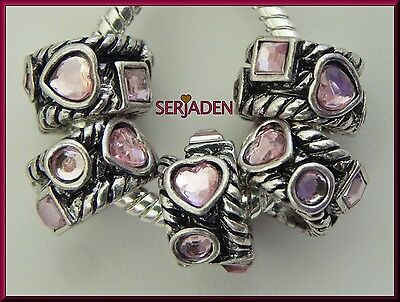 5 Pink Heart Circle & Square Stones Band Spacer Charms 8 * 13 mm& 5 mm Hole R176