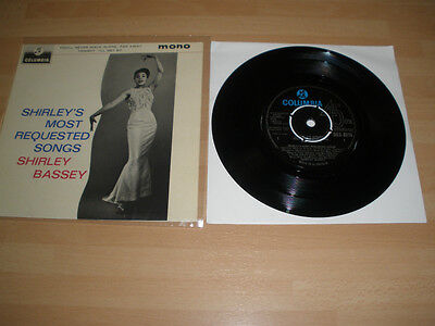 """Shirley Bassey 7"""" Vinyl P/s Shirley's Most Requested Songs Ep Columbia Jazz """""""