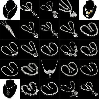 Fashion 925 sterling Silver Charm Heart Pendant Beautiful women Necklace New