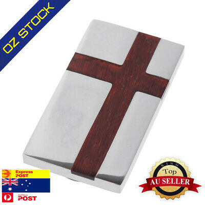 MC1004 Handsome Redwood Cross Stainless Steel Money Clips Gift for Mens By Y&G