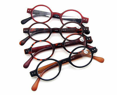 4 Colors Frame SMALL ROUND RETRO VINTAGE READERS READING GLASSES SPRING HINGES