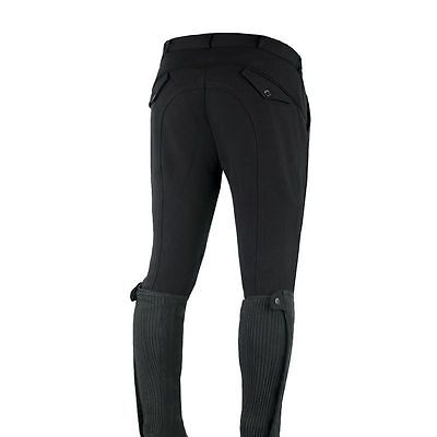 Horze Mens Self-Seat Knee Patch Horse Riding Breeches in Black with Rear Pockets