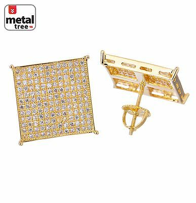 Mens Hip Hop Brass14k Gold Plated XL Square Flat Screen Screw Back Stud Earring