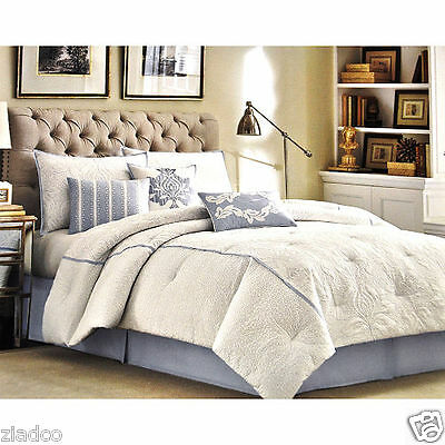 Laura Ashley Comforter Set Size Queen BLUE ((7 Pc Pieces)) NEW & FREE SHIPPING