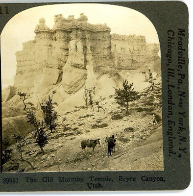 Old Mormon Temples Bryce Canyon UT Horses Keystone Stereoview c1910