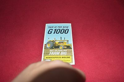 Minneapolis Moline G1000 Tractor Dealer's Brochure AMIL8