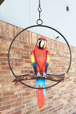 Scarlet Macaw Parrot Bird Perching for Patio and Home Figurine Statue