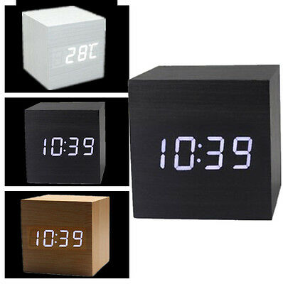 Voice Control Wood Wooden Cube Square LED Digital Alarm Desk Clock Thermometer P