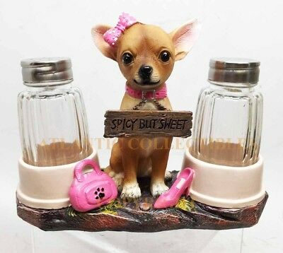 Pretty in Pink Girl Chihuahua Glass Salt and Pepper Shaker Set with Holder Decor