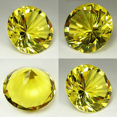 180 cts Huge Brilliant Round (40 mm)  Lab Canary Yellow Sapphire Crystal AAA N51