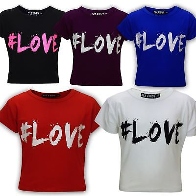 "KIDS GIRLS NEW SEASON "" # LOVE "" PRINTED CROP TOP T SHIRT 7 8 9 10 11 12 13 Yr"