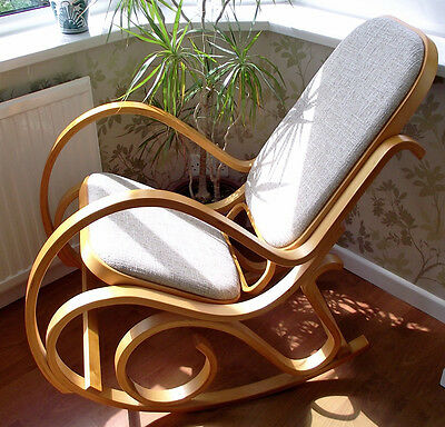 New Padded Seat Bentwood Rocking Chair Birch Thonet Living Bed Room Conservatory