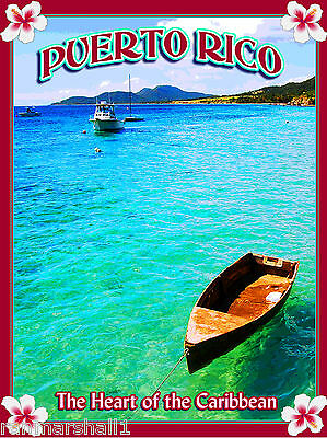 United States Puerto Rico Caribbean Sea America Travel Advertisement Art Poster