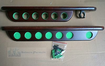 Cue Rack Pool Snooker Deluxe Cue Holder for 6 Cues and 'X' Rest, Cherry Mahogany