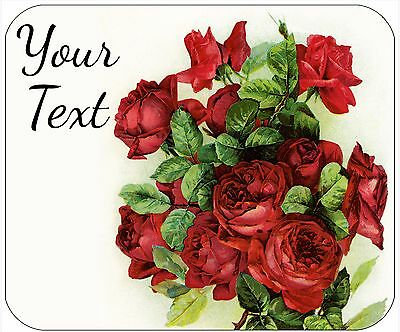 Mouse Pad Custom Thick Mousepad-Red Rose Bouquet-Personalize
