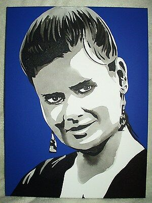 Canvas Painting Sophie Aldred Blue B&W Art 16x12 inch Acrylic