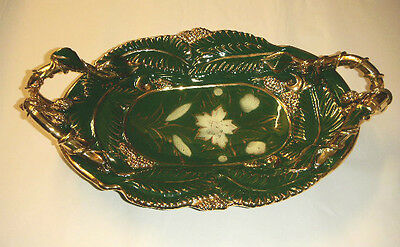 """Majolica Style Deep Green Gold Fruit Floral 21"""" X 13"""" Platter Mica Italy Ciampi"""